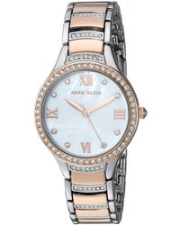 Anne Klein - Swarovski Crystal Accented Silver-tone And Rose Gold-tone Bracelet Watch - Lyst