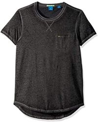 Scotch & Soda - Tee In Ausbrenner Quality With Uneven Bottom Hem - Lyst