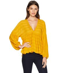 Lucky Brand Romantic Peasant Ruffle Top - Yellow