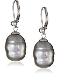 Majorica 12mm Gray Baroque Pearl Drop Sterling Silver Earrings