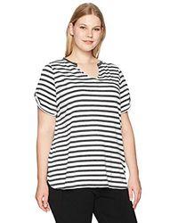Calvin Klein Plus Size Distressed Stripe Twisted Cold Shoulder Tee - Black