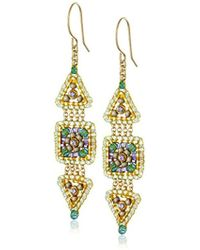 Miguel Ases - Green Quartz And Swarovski Triangle And Square Small Link Drop Earrings - Lyst