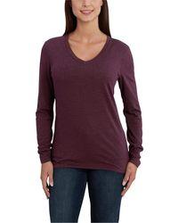 Carhartt Lockhartt Long Sleeve V-neck T-shirt - Purple