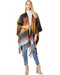 Steve Madden Plaid Blanket Ruana - Multicolor