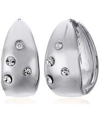 Anne Klein Pierced Earrings Sprinkle Station Hoop - Metallic