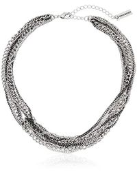 Steve Madden - 2 Tone Multi Row Knotted Necklace - Lyst