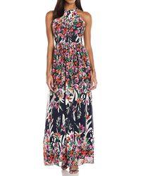Eliza J Printed Halter Maxi Dress - Multicolor