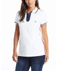 Nautica Toggle Accent Short Sleeve Soft Stretch Cotton Polo Shirt - Blanc