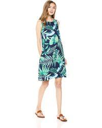 28 Palms 100% Linen Hawaiian Print Sleeveless Shift Dress With Pockets - Blue