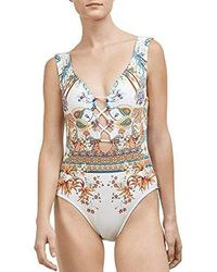 Kenneth Cole - Floral One Piece Swimsuit With Cutout Lattice Bust - Lyst
