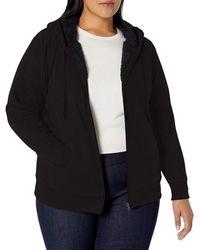 Amazon Essentials Plus Size Sherpa-Lined Full-Zip Hoodie Fashion-Hoodies - Nero