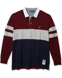 Nautica Tall Long Sleeve 100% Cotton Rugby Stripe Jersey Polo Shirt - Multicolor