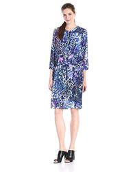 NYDJ Lauren Pleat-back Dress - Blue