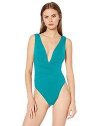 Trina Turk Plunge Wrap Front One Piece Swimsuit - Blue