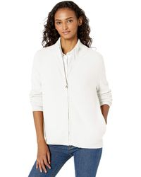 Daily Ritual Cozy Boucle Zip-front Cardigan - White