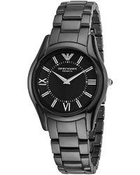 Emporio Armani - Ar1441 Ceramicslim Black Dial Watch - Lyst
