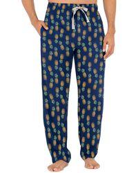 Izod Relaxed Fit 100% Cotton Printed Poplin Drawstring Sleep Pant - Blue