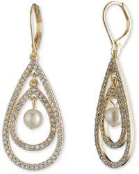 Anne Klein Gold Tone Pearl Orbital Drop Earrings - Metallic