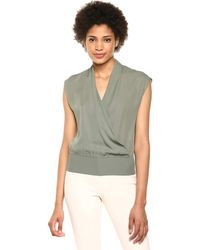 Theory Sleevless Draped Combo Top - Multicolor