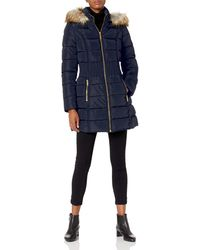 Laundry by Shelli Segal 3/4 Puffer With Zig Zag Cinched Waist And Faux Fur Trim Hood - Blue