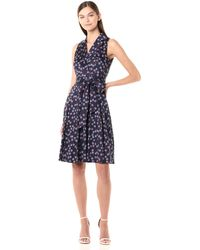 Anne Klein Notch Collar Wrap Dress - Blue