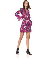 Parker Amanda Long Flared Sleeve Short Dress - Purple