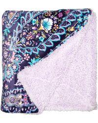 Vera Bradley Fleece Cozy Life Throw Blanket - Black
