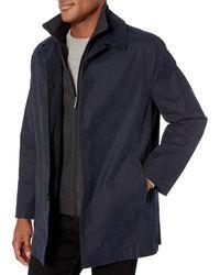 London Fog Berne Micro Twill All Weather Coat - Blue