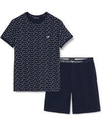 Emporio Armani Pattern Mix Short Pajamas - Blue