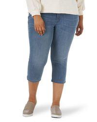Lee Jeans Plus Size Sculpting Slim Fit Mid Rise Capri Jean Jeans - Blu