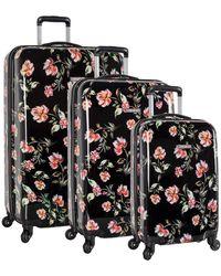 Nine West 3 Piece Hardside Spinner Luggage Suitcase Set - Black