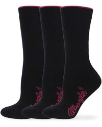 Wrangler Ladies Cushion Angora Crew Socks 3 Pair Pack - Black