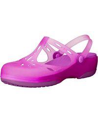 Crocs CARLIE CUT OUT Ladies Womens TPU Soft Comfort Clog Vibrant Violet Pink