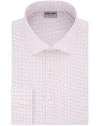 Kenneth Cole Reaction Dress Shirt Slim Fit Technicole Stretch Print - Pink
