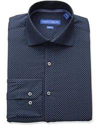Vince Camuto - Slim Fit Performance Navy Dot Print Dress Shirt - Lyst