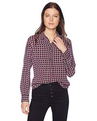 69527698e3211a Equipment - Leema Houndstooth Star Printed Crepe Shirt - Lyst