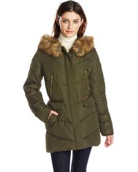 Kensie Diamond-quilted Down Coat With Faux Fur Hood - Green