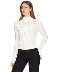Nanette Lepore - Cordelia Ruffle Pointelle Zip From Sweater Cardigan - Lyst