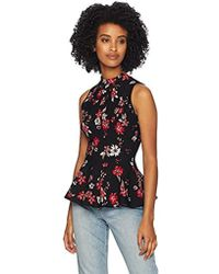 MILLY Knit Twilight Floral Sleeveless Peplum Flare Shell Top - Black