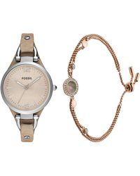 Fossil Georgia Quartz Stainless Steel And Leather Casual Watch And S Gray Mother-of-pearl And Rose Gold Multi-strand Slider Closure - Metallic