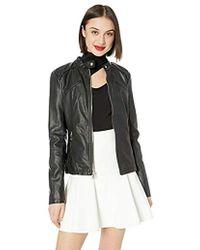 Guess Faux Leather Zip Front Scuba Jacket - Black