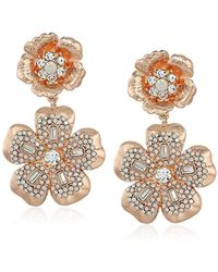 Badgley Mischka - S Double Flower Crystal Pave Drop Earrings, Rose Gold Tone, One Size - Lyst