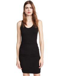 Monrow Supersoft Tank Shirred Dress - Black