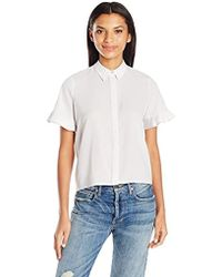 French Connection - Polly Plains Frill Blouse - Lyst