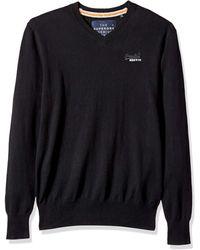 Superdry Orange Label Vee Knit Sweater - Black