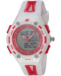 Skechers Liberty Quartz Plastic And Pu Digital Watch Color: White - Red