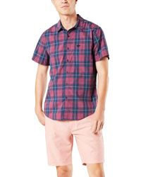Dockers Short Sleeve Button-down Supreme Flex Shirt - Blue
