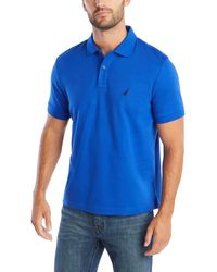 Nautica Classic Fit Short Sleeve Solid Soft Cotton Polo Shirt - Blue