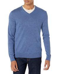 Calvin Klein Merino Sweater V-neck Solid - Blue