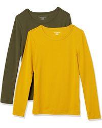 Amazon Essentials 2-Pack Slim-fit Long-Sleeve Crewneck T-Shirt Fashion - Jaune